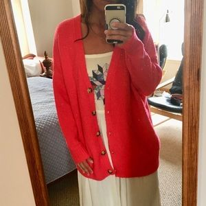 URBAN OUTFITTERS CORAL CARDIGAN